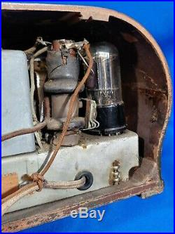 1938 Emerson Bullseye Model AX-212 Ingraham Wood Case Tube Radio Small Rare VTG