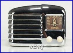 1939 Vintage Art Deco Chrome ARVIN Model #502 Tube Radio