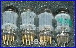 4 Pieces Excellent Sylvania 12ax7 Ecc83 Tubes Gold Pins Working Nos Vintage USA