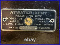 ATWATER KENT Model 35 Vintage Tube Radio, Very Clean