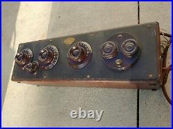 Antique 1920'S Vintage Atwater Kent Model 20 Tube Radio Receiving Set Wood Box