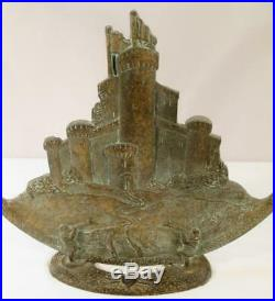 Antique Tower Castle Radio Cone Speaker Frame 1920s Vintage Cast Iron