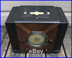 Antique Vintage 1930s Art Deco Cube Silvertone Mission Bell Model 41 Tube Radio
