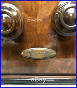 Beautiful, WORKING Rare RADOLEK 1936 vintage Vacuum Tube Tombstone Radio