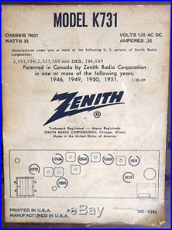 Fully Operational Vintage Zenith K731 AM/FM Long Distance Tube Table Radio