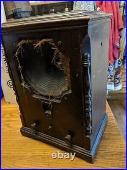 Large Antique Wood Tube Radio Table Ge Rca Victor Radiola R-9 Chassis Vtg Rare