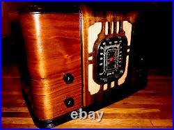 Old Antique Wood Vintage 1936 REMLER Radio WithBOSE Bluetooth & Millefiori Bowl