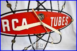 RARE Vintage RCA Tube Radio STORE ADVERTISING CLOCK Atomic 1950s-60s