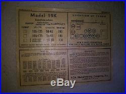 RCA #19K 1938 Superheterodyne Art Deco Console Vintage Wood Vacuum Tube Radio