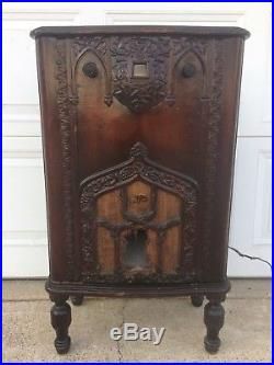 RCA Radiola 48 Antique Tube Radio Wood Cabinet Speaker Vintage Console Cloth