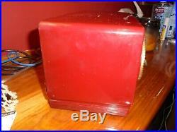 RCA Victor mid century modern tube radio vintage radio red burgundy