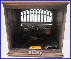 Rare Antique Vtg 1920s RCA Victor Radiola X (10) Tube Radio Wood Console AS IS