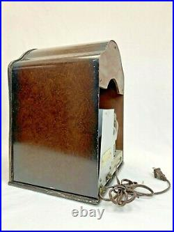 Rare Vintage Metal Acratone Tombstone Radio Model 107- Powers Up Doesn't Tune
