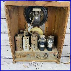 Rare Vintage Steinite Tombstone Amateur Tube Radio With Case