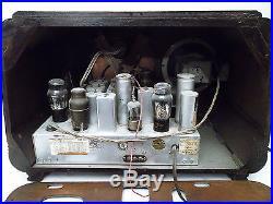 SILVERTONE 4565 VINTAGE DECO TUBE RADIO V. Nice Wood Case 6 GOLD DIAL Works