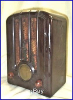 Small Vtg Art Deco Emerson Tube Radio Brown Bakelite Tombstone Cabinet c 1923