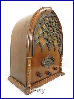 Vintage 1931 Antique Echophone Old Gothic Church Depression Era Cathedral Radio