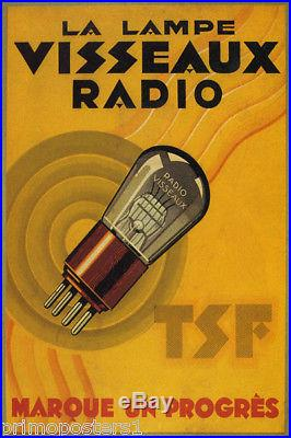 VISSEAUX RADIO LA LAMPE LAMP TSF VALVES TUBE MARKS PROGRESS VINTAGE POSTER REPRO
