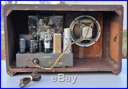 VTG (1939) Sears Silvertone 6128 BC & SW Tube Radio Receiver with Magic Eye