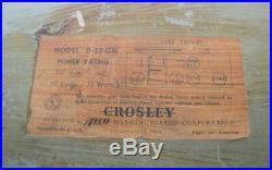 VTG 1950s Crosley D-25-GN Ch. 311 Metallic Green Dashboard Tube Clock Radio WORKS