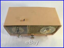 VTG General Electric Pink Tube Radio Clock 1950s Tabletop Mid Century Works