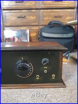 Vintage 1923 Arborphone Tube Radio, Table Model withlid, Battery Radio, 5 Tubes