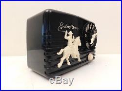 Vintage 1950 Old Silvertone Western Cowboy Antique MID Century Gun Tuning Radio