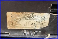 Vintage 1950's Crosley Model D-25 AM Clock Tube Radio Burgundy Color Home Decor