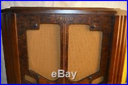 Vintage Art Deco Philco Tombstone Wood Tube Radio Am Sw Tested 37 60 Chassis