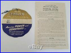 Vintage Art Deco Philco Tube Radio with Wooden Case Model #42-321 & Orginal Box