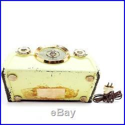 Vintage Crosley 1950 Bakelite Tube Radio 10-136 E Dashboard Green Yellow Works