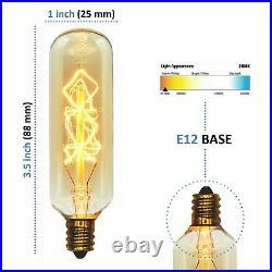 Vintage Edison Bulb, T25 Tubular Radio Spiral, 40w, Candelabra E12 Base, 2-Pack