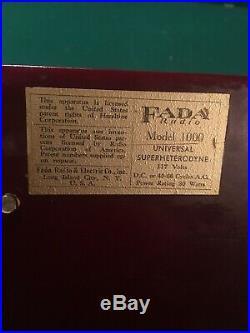 Vintage Fada Model 1000 Catalin Bullet Radio
