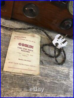 Vintage Goblin Time Spot Radio Receiver Valve Tube Radio With Instructions