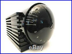 Vintage Old 1939 Machine Age Silvertone Solid Black Ebony Bakelite Radio & Plays