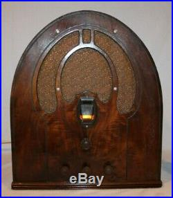 Vintage Old Antique Philco Cathedral Radio Model 44 Works Great