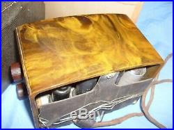 Vintage RCA Victor Catalin Swirled Bakelite Tulip Mini Radio with Box, tube