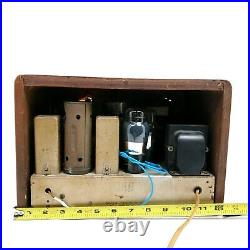 Vintage Tube Radio Wooden Tabletop AM Orange Dual Tone 5-T-30 Mid Century Works