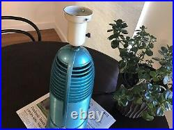 Vintage WW II Rocket Shaped Lamp/Radio by Mitchell Model 1260. Rare Turquoise