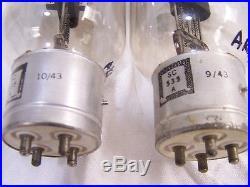 Vtg LARGE Pair 9 AMPEREX 221-A (SC 535 A) AUDIO Radio AMP Rectifier VACUUM TUBE