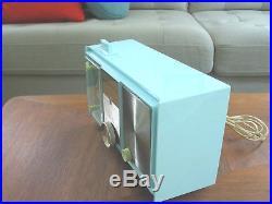 Vtg Pale Blue Motorola Tube Alarm Clock Radio Working 50s 60s Eames MCM Jimmy O