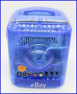 Vtg Translucent Blue Small 4.5 B&W CRT Tube TV / Radio w Composite Input