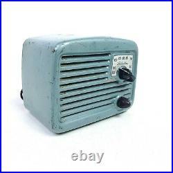 Working Vintage Metal Tube Radio Silvertone Sears 8003 Green AM Mini MCM 1948